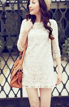 #SheInside   White Round Neck Lace Embroidery Dress