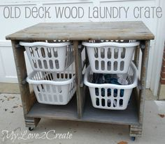 Wood Pallet or Old Deck Wood Laundry Crate DIY Project Wood Pallet Laundry Organizing Station DIY Project Laundry Basket Dresser, Plastic Laundry Basket, Laundry Baskets, Laundry Table, Laundry Basket Holder, Laundry Cart, Plastic Baskets, Laundry Rooms, Spring Home Decor