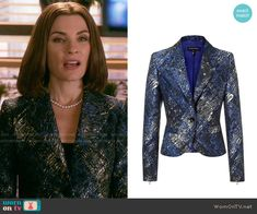 Alicia's black, silver and blue printed jacket on The Good Wife.  Outfit Details: http://wornontv.net/54511/ #TheGoodWife