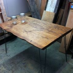 Table made from planks chainsaw milled from river beached logs. Finished with Danish oil and hairpin legs. 60x36x30    Contact us for shipping