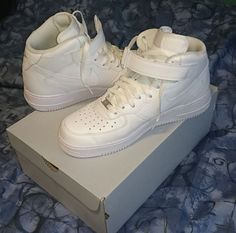 Nike Air Force 1 Mid white trainers @daheembrownboy