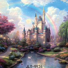 SJOLOON foto de fondo 8x8ft rainbow castillo de color clásico de dibujos animados nacidos fondos de fotografía de estudio vinilo delgada