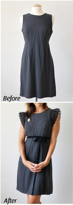 Fabulous Upcycled Clothing Projects Gray Gap dress makeover --- you could do something like this with ANY sleeveless outfit couldn't you?