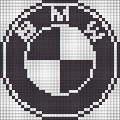 BMW logo x-stitch Hama Beads Patterns, Beading Patterns, Friendship Bracelet Patterns, Friendship Bracelets, Knitting Charts, Knitting Patterns, Logo Bmw, Plastic Bead Crafts, Modele Pixel Art