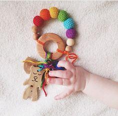 Baby teething ring rainbow rattle Waldorf toy with by kangarusha
