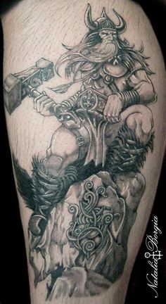 Viking, Thor tattoo on leg. Black and grey.