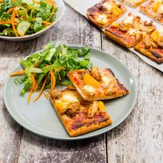 Spiced Chicken, Apricot and Cream Cheese Pizzas with Salad Cream Cheese Pizza, Cream Cheese Chicken, Chicken Spices, Chicken Pizza, Apricot Chicken, Colby Cheese, Fruits And Veggies, I Foods, Vegetable Pizza
