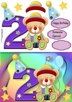 """Happy 2nd Birthday Bear on Craftsuprint designed by Amy Perry - Happy 2nd Birthday Bear in lovely multi-coloured frame with corner stars also has decoupage and choice of tag """"Happy Birthday"""" """"Someone Special"""" and a blank tag for your own sentiment  - Now available for download!"""