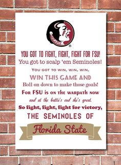 12 x 16 Florida State University Fight Song Poster via Etsy