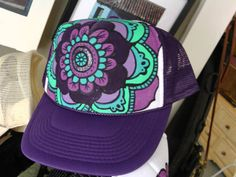 Purple Hand Painted Mandala Trucker Hat by theflippingflea on Etsy