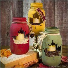 Fall mason jar crafts - 25 fall craft ideas using mason jars. Mason jar crafts for fall. Kids craft idea for fall. Fall decor using mason jars. Mason Jar Projects, Mason Jar Crafts, Mason Jar Diy, Diy Decoupage Mason Jars, Coffee Jar Crafts, Pickle Jar Crafts, Fall Mason Jars, Pickle Jars, Thanksgiving Crafts