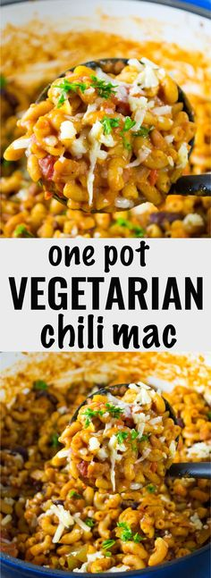 Easy One pot chili mac recipe that comes together in less than 30 minutes. Rave reviews on pinterest! #vegetarian #chilimac #meatless #dinner