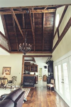 Gorgeous exposed ceiling beams for the great room.