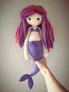 Mermaid doll made with purple tones.