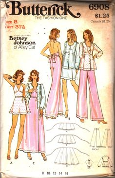 Butterick 6908 1970s BETSEY JOHNSON  Evening Wrap Skirt Pants Smock Halter Top Pattern Womens Vintage Sewing Pattern Size 8 Bust 31