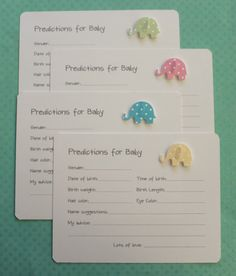 Pink Blue Green Yellow Polka Dots Prediction Cards - Elephant Baby Shower Prediction Cards - Pastel Polka Dots Advice Cards - Set of 10