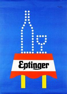 1962 Eptinger  Swiss sparkling water vintage advert poster