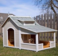 7 Dog House Ideas Are you a dog owner? If you are then you know how important it is to provide a safe outdoor place for you canine friend. Wooden dog houses are your best choice because they are sturdy provide great protection against the elements are Dog House With Porch, Wood Dog House, Big Dog House, Dog House Outside, Pallet Dog House, Dog House Plans, Dog House Blueprints, Cabin Plans, Ideal Toys