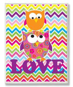 Look at this #zulilyfind! Chevron Owls 'Love' Wrapped Canvas #zulilyfinds
