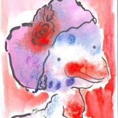 Senhora Patinha com cabea de coraoShe has a heart as a head Hehehe duck illustration watercolor aquarela colors