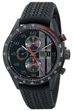 TAG Heuer Men's Carrera Analog Display Swiss Automatic Black Watch Amazing Watches, Beautiful Watches, Cool Watches, Tag Watches, Casual Watches, Patek Philippe Nautilus, Tag Heuer Carrera Calibre, Dream Watches, Rubber Watches