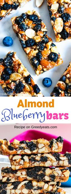 Step up your snack time game with these healthy and filling thick and chewy blueberry almond bars! These breakfast bars are jam packed with protein and are so hearty. Breakfast Bars Healthy, Healthy Bars, Healthy Brunch, Healthy Dessert Recipes, Brunch Recipes, Delicious Desserts, Breakfast Recipes, Healthy Lunches, Healthy Protein
