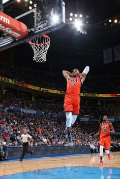 Russell Westbrook gets the home crowd on their feet with a thunderous breakaway dunk.