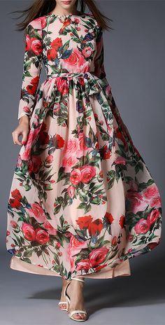 Floral Bohemian Maxi Dress with Belt