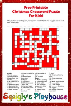 Print this fun Crossword Puzzle. A free printable Christmas puzzle for kids.