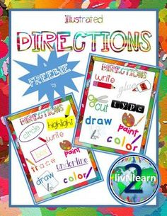 Illustrated Directions FREEBIE! Help your students understand common directions seen on worksheets and assessments with this Illustrated Directions Poster FREEBIE!  Follow me for more great resources for your students! If you liked this product, check out:Illustrated Word Wall Cards FREEBIE: Dinosaurs!Illustrated Word Wall Cards FREEBIE: Money!Illustrated Word Wall Cards: Landforms and HabitatsIllustrated Word Wall Cards: Body PartsIllustrated Word Wall Cards: Halloween Illustrated Word…