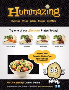 New ad Gluten Free Quinoa Salad, Steak Recipes, Chicken Recipes, Hummus Wrap, Falafel, Banners, Catering, Meals, Signs
