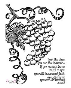 Zen Tangle Grapevine John Coloring Page I Am The Vine You Are Branches Inspirational For Adults Adult