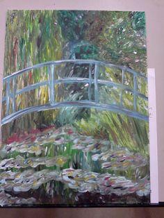 Ode to Monet Bridge, acrylic on canvas panel