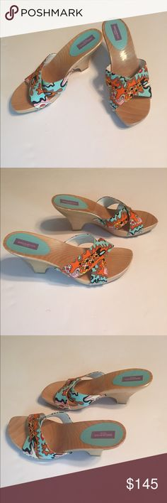 "Emilio Pucci Canvas Slides Classic Emilio Pucci vibrant print slides are the perfect way to update your summer wardrobe. Canvas uppers and wooden soles and heels. Euro size 39. They run small. Measures: insole 10.25"", width 3"", heel height 3.5"". Made in Italy. Excellent condition! Emilio Pucci Shoes Sandals"