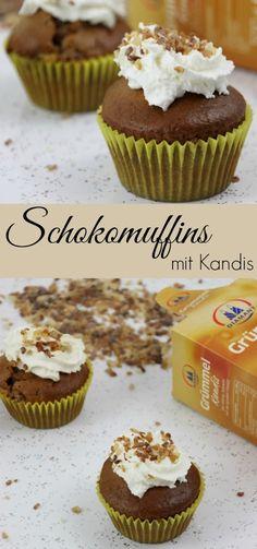 Schokomuffins mit Kinderschokolade und Kandis - Cupcakes mit Sahnehaube | Rezept für winderliche Muffins ohne Zimt | Backen mit Kandis http://www.the-inspiring-life.com/2017/01/winterideen-mit-kandis-von-diamant-zucker-muffins.html