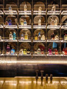 Image 17 of 23 from gallery of BigSmall Coffee / designRESERVE. Photograph by Boris Shiu Bar Interior Design, Restaurant Interior Design, Restaurant Lounge, Bar Lounge, Bar Counter Design, Back Bar Design, Architecture Restaurant, Trendy Bar, Bar Displays