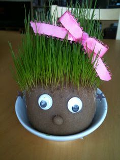 A co-worker of mine (thanks Em!), recently suggested that everyone in our office should have an effigy in the form of a chia pet. I wasted. Garden Crafts For Kids, Easter Crafts For Kids, Summer Crafts, Fall Crafts, Crafts Toddlers, Cub Scout Crafts, Easter Baskets To Make, Chia Pet, Gras