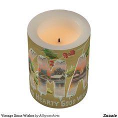 Vintage Xmas Wishes Flameless Candle