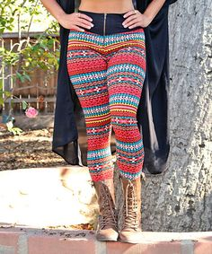 Love this Pink & Turquoise Geo Stripe Fleece-Lined Zip Leggings on #zulily! #zulilyfinds