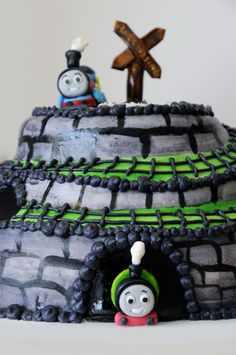 Thomas the train themed cake complete with cute little Percy in the tunnel at the bottom :)