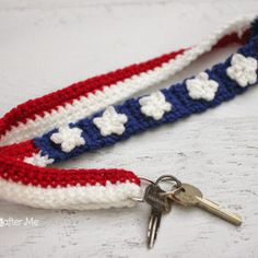 Crochet Stars and Stripes Lanyard