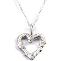 Fifi Bijoux Silver Heart Belle Necklace ($135) found on Polyvore