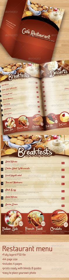 Cafe Restaurant Menu  #GraphicRiver         Fonts : Katy Berry –  .dafont /katy-berry.font springsteel – new.myfonts /fonts/paragraph/springsteel/    •Fully layerd PSD file •A4 page size •includes 4 pages •prints ready with bleeds & guides •easy to place yourown photo   My works  —-—-—-—-—-—-—-—-—-—-——-         Created: 12April11 GraphicsFilesIncluded: PhotoshopPSD Layered: Yes MinimumAdobeCSVersion: CS Tags: brown #cafemenu #menu #restaurant #restaurantmenu