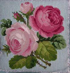 ELIZABETH BRADLEY tapestry chart pattern only ROSES & LACE CUSHION flowers | eBay