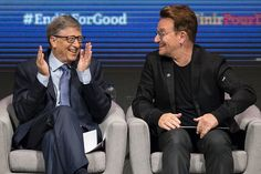 U2 singer Bono and philanthropist Bill Gates laugh during the opening of the Fifth Replenishment Conference of the Global Fund to Fight AIDS, Tuberculosis and Malaria in Montreal, Quebec,
