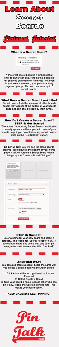 Pinterest Secret Boards Tutorial - NEW! What is a Secret Board? and How to Create a Secret Board [Infographic]