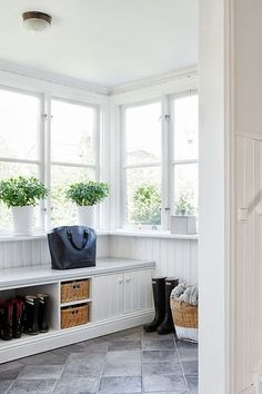 A mudroom or an entryway is usually a small space that needs a lot of storage to hold lots of stuff. We've gathered lots of small mudroom storage ideas for you. Contemporary Living, Fresh Farmhouse, Entryway Storage, Garage Storage, Mudroom, Home And Living, Living Room, Interior Inspiration, Sweet Home