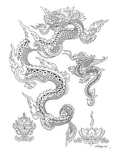 Dragon Head Drawing, Dragon Tattoo Sketch, Dragon Tattoo Designs, Dragon Art, Tattoo Designs Men, Tiger Dragon, Traditional Thai Tattoo, Mystical Tattoos, Southeast Asian Arts