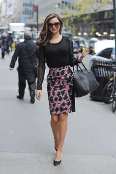 shop our printed pencil skirt roundup, inspired by Miranda Kerr