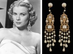 """Grace Kelly in earrings from Joseff of Hollywood in the movie High Society. Joseff of Hollywood designed and created jewelry for all the major motion pictures during Hollywood's """"Golden Age"""". Hollywood Jewelry, Old Hollywood Glamour, Hollywood Cinema, Hollywood Divas, Hollywood Stars, Vintage Costume Jewelry, Vintage Costumes, Vintage Jewelry, Antique Jewellery"""